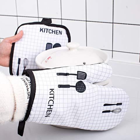 1 Pieza Lindo Antideslizante Negro Gris algodón Moda Cocina Guantes microondas Hornear Barbacoa agarraderas Horno Guantes-A