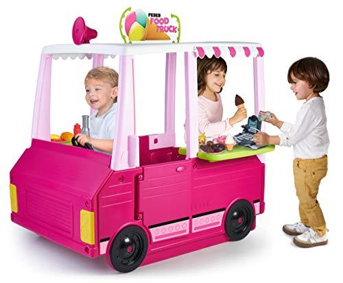 FEBER - Food Truck, combinación de vehículo y Cocina de Juguete 2en1, más de 50 Accesorios y Utensilios de Comida, para niños y niñas a Partir de 3 años, desarrolla la imaginación, Famosa (800012990)