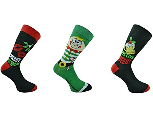 3x Pairs of Mens Novelty Fun Christmas Socks/UK 6-11...
