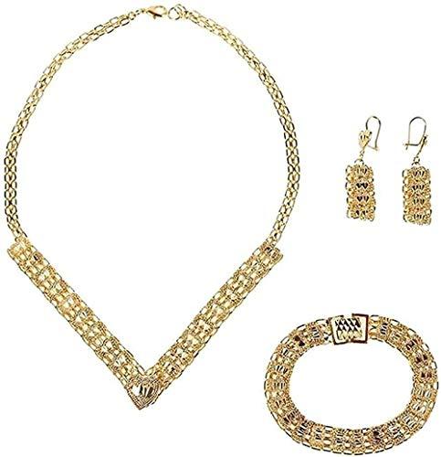 Liuqingzhou Co.,ltd Collar de color dorado Dubai conjunto de joyas turco egipcia Argelia india marroquí saudí joyería