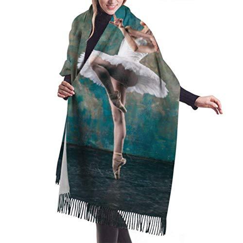 Qefgjbw 27'x77 Bufanda de cachemira suave Una joven y elegante bailarina de ballet Bufanda de viaje Ligera Bufanda liviana para mujer Elegante grande W
