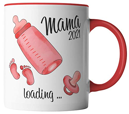 vanVerden Taza – Mama 2021 loading – futura madre – embarazada – impresa por ambos lados – Idea de regalo – Taza de café – Color blanco / rojo