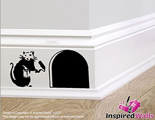 "Maus Hole"" Small Banksy Rat with Paint Tin and Roller"" Skirting Aufkleber by Inspired Walls®"