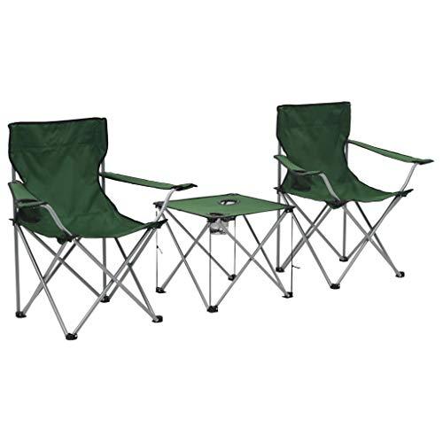 vidaXL Juego de Mesa y Sillas de Camping 3 Piezas Verde Patio Terraza Jardín