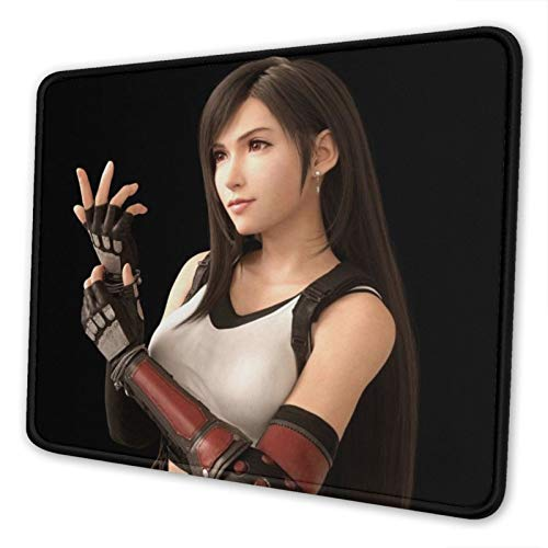 Final Fantasy Tifa Lockhart Mouse Pad with Stitched Edges Premium Textured Mouse Mat Non-Slip Rubber Base Gaming Mousepad,for Laptop -Computer & Pc.10x12 Inches