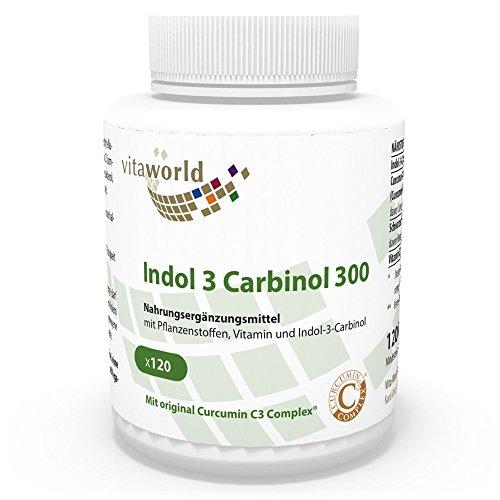 Vita World Indolo-3-Carbinolo 300mg Curcumina C3 Estratto di pepe nero 120 Capsule vegetali Made in Germany