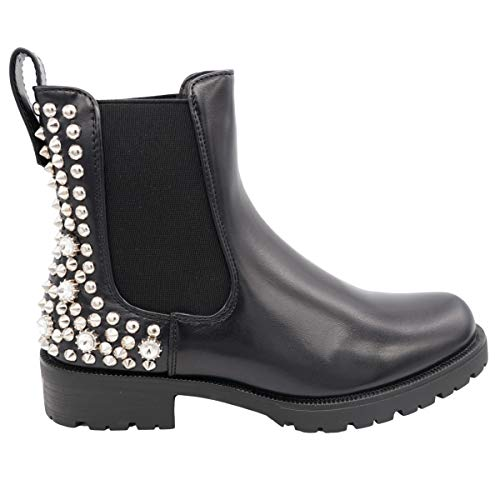 CucuFashion Stiefeletten mit dickem Absatz, grober Reißverschluss, klobige Stiefeletten, schwarze Stiefel, schwarze Absätze, Stiefeletten mit Absatz (UK 8 UK, schwarzes PU-Silber)