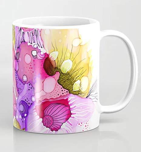 Betsy34Sophia Koffiemok, abstracte koffiemok, alcoholinkt-spuiten, 11oz, Samenvatting, 39 roze, paars, groene kunstschilderij van LDumas