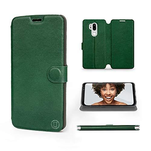 Mobiwear   Echt Lederhülle   Kompatibel mit LG G7 ThinQ, Made in EU handyhülle, Slim Leather Hülle, Premium Flip Schutzhülle, Transparent TPU Silicon, Book Style, Tasche - Grünes Leder