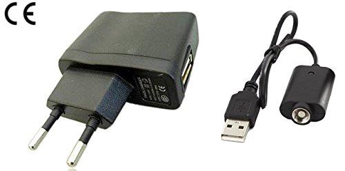 USB Kabel + Netzteil 220V für E-Zigarette EGO E-Smart, Shisha wie eGo, eGo-T, eGo-C, eGo- W, eGo-Twist, eVod, 510
