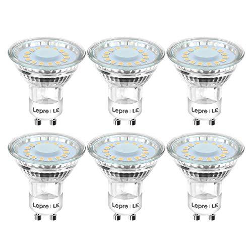 Lepro GU10 LED Lampe, 4W 350 Lumen LED Leuchtmittel, 2700 Kelvin Warmweiß Energiesparlampe ersetzt 50W Halogenlampen, 120 Grad Abstrahlwinkel Glühbirnen, 6 Stück