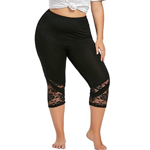 OSYARD Hosen,Mode Frauen Plus Size Skinny Hosen mit Spitze Yoga Sport Hosen, Blickdichte Leggings für Damen Capri Hose Leggins 3/4 Länge