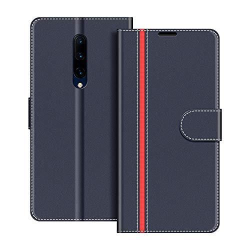 COODIO Handyhülle für OnePlus 7 Pro Handy Hülle, OnePlus 7 Pro Hülle Leder Handytasche für OnePlus 7 Pro Klapphülle Tasche, Dunkel Blau/Rot