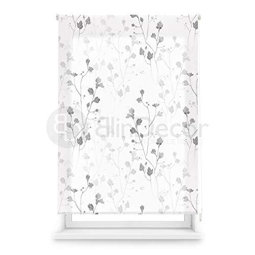 Blindecor Estor Enrollable translúcido Digital, Polyester, Blanco (Flores), 110 X 180 cm