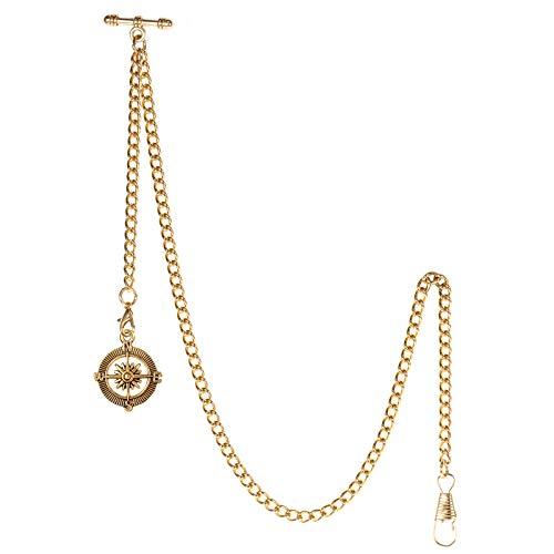 TREEWETO Taschenuhrkette mit T Bar Endstück Albert T-Bar Taschenuhr Kette mit Antiker Kompass-Anhänger und 2 Haken für Weste Knopfloch Gold