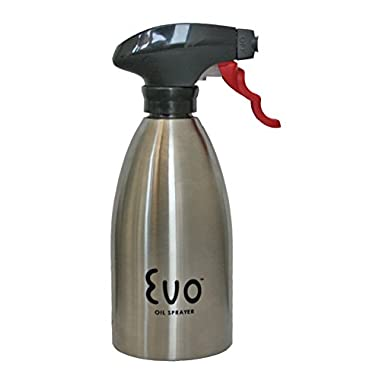 Evo Oil Sprayer Bottle, Non-Aerosol for Olive Oil and Cooking Oils, Stainless Steel, 16-ounce Capacity
