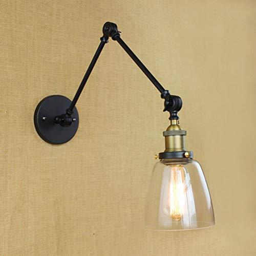 JFHGNJ wandlamp Loft stijl LED wandlamp glas lampenkap Swing Arm lang Retro lamp