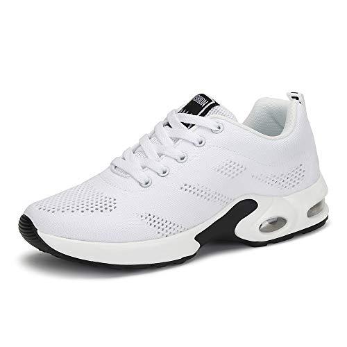Zapatillas Deportivas de Mujer Air Cordones Zapatillas de Running Fitness Sneakers 4cm Negro Rojo Rosado Púrpura Blanco Blanco 37