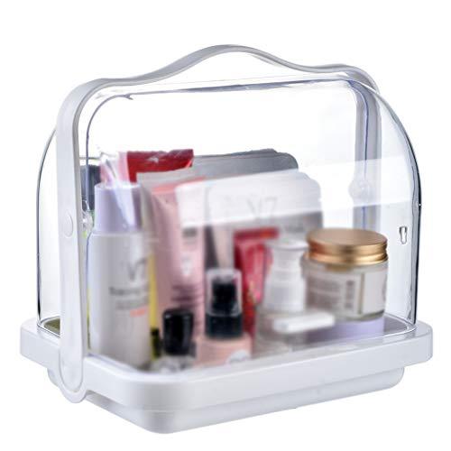KKY-ENTER Boîte de rangement cosmétique transparente en plastique Boîte de rangement de bureau 25 * 19 * 24 cm de produits de soins de la peau de bijoux de bureau de rouge à lèvres