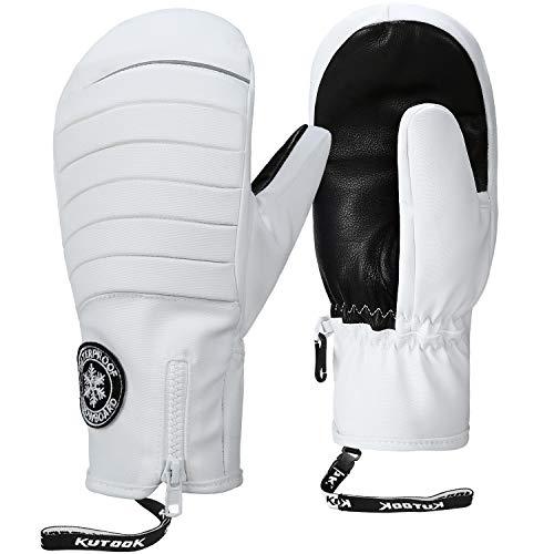 KUTOOK Skihandschuhe Herren Damen Fäustlinge Winter Snowboard Handschuhe Warm Wasserdicht Für Ski Snowboard Winter Outdoor-Aktivitäten Weiß,L (SF501)