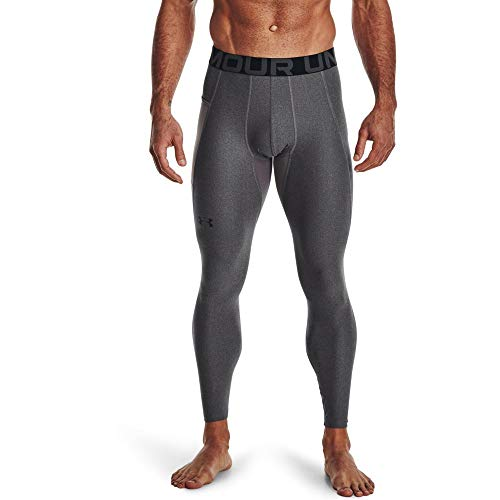 Under Armour Herren Ua Hg Armour Leggings lange Sportleggings; atmungsaktive enganliegende Laufhose, Carbon Heather / Black, L