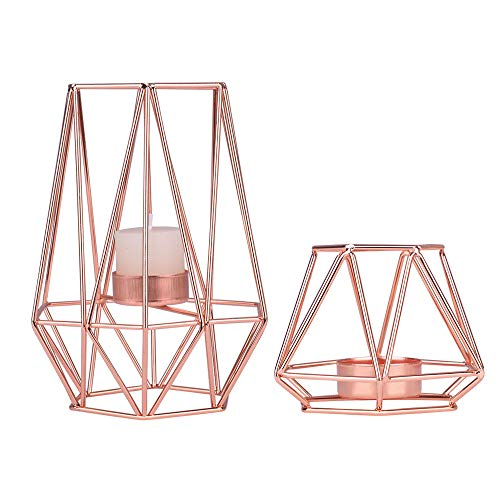 KiaoTime Set of 2 Rose Gold Tealight Candle Holder Geometric Metal Tea Light Candleholder Centerpiece Decorative Candlelight Dinner Living Room Candle Holder for Table Mantle Wedding Holiday Parties
