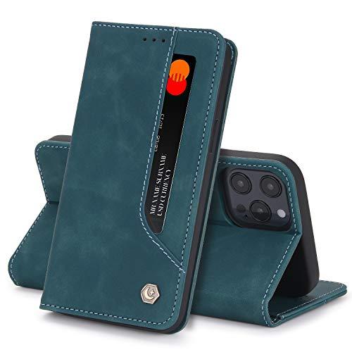 Funda Compatible con iPhone 12 Pro MAX Carcasa,iPhone 12 Pro MAX Fundas Cartera con Ranuras Tarjetas Cierre Magnético Cuero Flip Protector Antigolpes Tapa (iPhone 12 Pro, Verde)