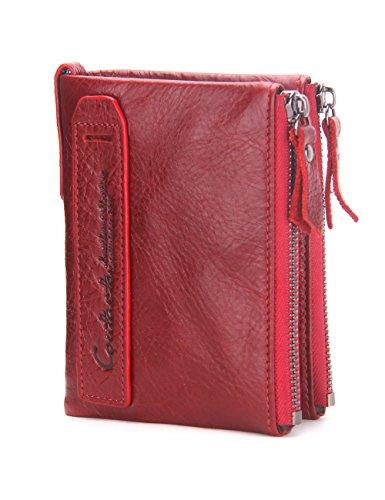 Contacts Cartera doble Bifold doble del monedero del bolsillo de la moneda de la cremallera del cuero genuino de los hombres Rojo