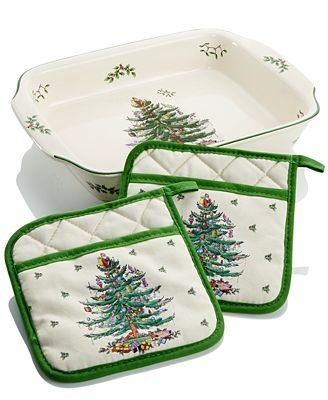 Spode Christmas Tree Large Lasagna Dish with Pot Holders