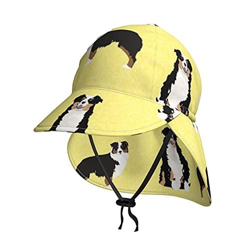 Cocoal-ltd Sombrero de sol para niños con protección UV para bebé con solapa de verano UPF50+ sombrero de playa al aire libre para niños y niñas, gorro de pesca, perro de pastor australiano tricolor