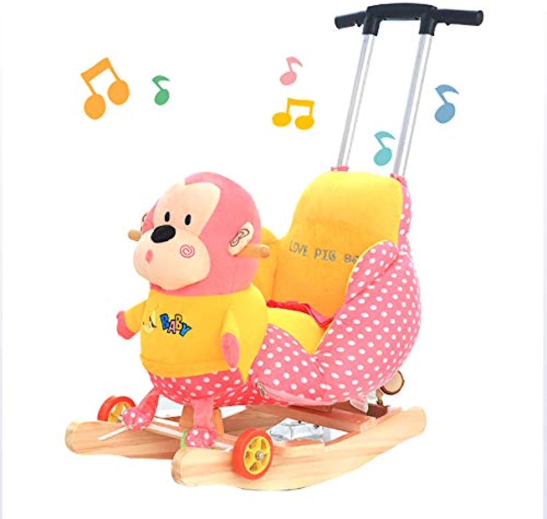 JTYX Kinder Schaukelpferd mit Musik Massivholz Baby Schaukelstuhl Waschbar Einstellbare Putter Geburtstagsgeschenk
