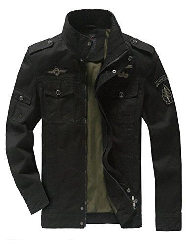 Mallimoda Blouson Homme Coton Manches Longues Veste Militaire Slim Fit Casual Manteau Noir L