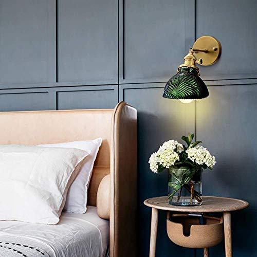 LONGWDS Lámpara de pared simple personalidad latón vidrio lámpara de pared/dormitorio cama pasillo fondo espejo de pared Faros alto sabor