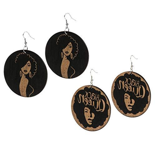Colcolo 2 Pairs of Women Hanging Wooden Earrings Punk Music Festival, Ethics Festival