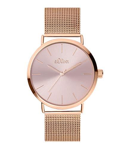 s.Oliver Damen Analog Quarz Uhr mit Edelstahl Armband SO-3887-MQ, IP Roségold-Rosa