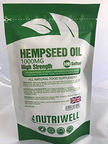 Hemp Seed Oil 1000mg Supplement 120 Soft Gel Capsules | Premium High Strength | Pure Cold Pressed 1000mg per Capsule | Made in The UK by NutriWell