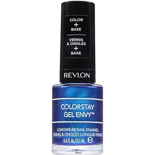 Revlon ColorStay Gel Envy Longwear Nail Polish, with Built-in Base Coat & Glossy Shine Finish, in Blue/Green, 445 Try Your Luck, 0.4 oz