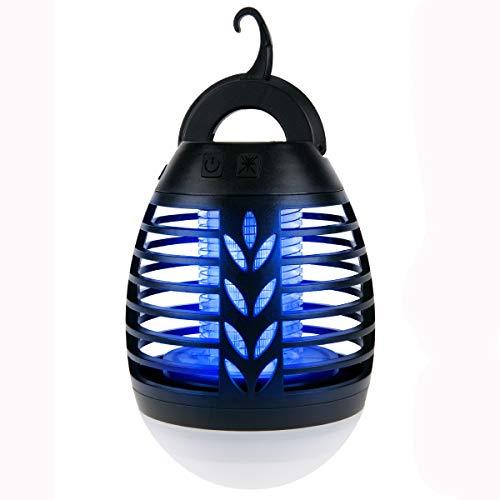 IREGRO Bug Zapper 2 in 1 Lampada Portatile Anti-zanzara LED Lanterna da Campeggio con 3 modalità di Illuminazione per l'escursionismo, Il Campeggio, Zaino in Spalla, Pesca, Emergenza (Black)