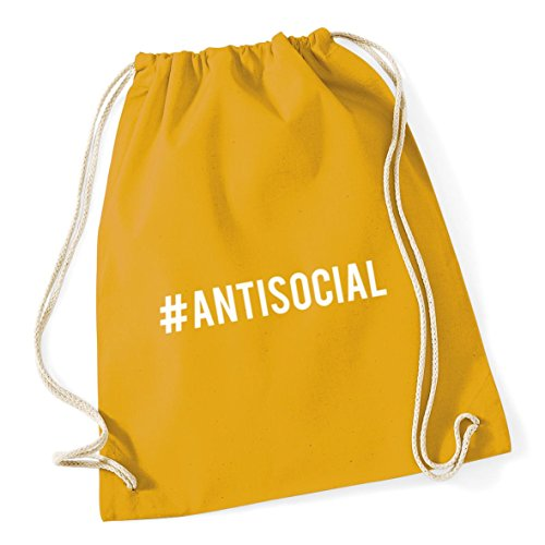 HippoWarehouse Hashtag Antisocial Drawstring Cotton School Gym Kid Bag Sack 37cm x 46cm, 12 litres