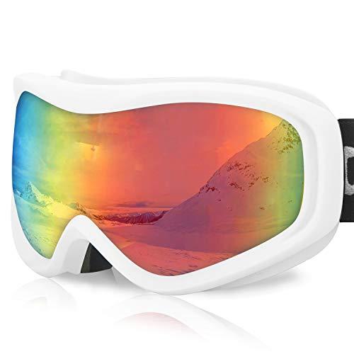 devembr Gafas de Esquí y Snowboard, Gafas Ski Mujer/Hombre, Gafas Nieve OTG,Anti-Niebla, Gafas Ventisca para Snowboard,Esquí,Skating y Otros Deportes de Nieve, Marco Blanco, Lente Colorida (VLT 20%)