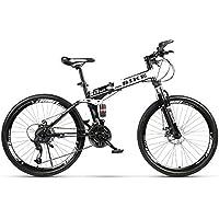 Novokart-Deportes Plegables/Bicicleta de montaña radios de Rueda de 24 Pulgadas,Blanco