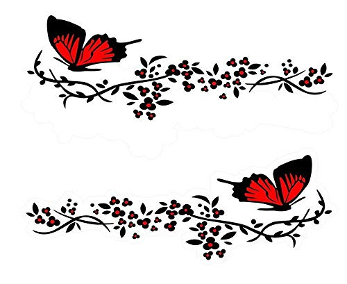 Practisol Car Decals for Women, 1 Set Butterfly Flower Car Decal Stickers, Vinyl Car Side Decal Car Hood Decals for Cars/SUV, Universal Scratch Hidden Car Sticker (Red)