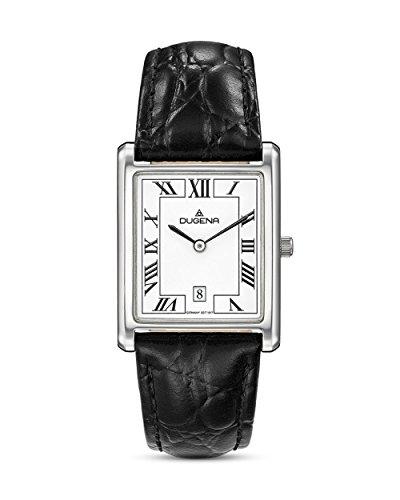 Dugena Damen Armbanduhr Quadra Classica Leder schwarz/silber