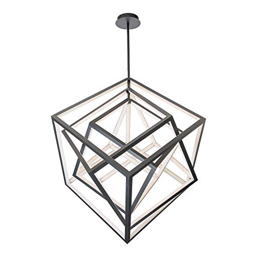 WAC Lighting Atlas 41 in. 360-Watt Equivalent Integrated LED Black Standard Chandelier with Silica Shade