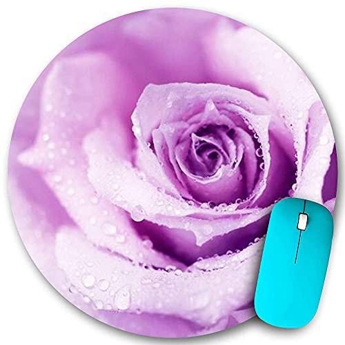 Alfombrilla de ratón redonda Goma antideslizante, flor abstracta Rosa mojada Hermosa naturaleza Detalle Belleza Macro Lila Color de rocío, resistente al agua Alfombrilla de ratón duradera Escritorios