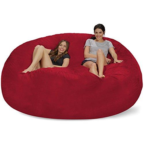 Chill Sack Bean Bag Chair: Giant 8' Memory Foam Furniture Bean Bag - Big Sofa with Soft Micro Fiber Cover - Cinnabar
