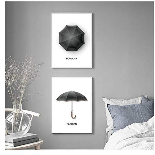 Zwarte Populaire Mode Paraplu Nordic Posters En Prints Wall Art Canvas Schilderen Wandfoto's Voor Woonkamer Thuis Decor-30X40Cmx3 Stks Geen Frame