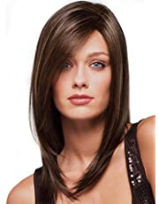 Charming lady long hair wig brown pick stained long straight hair partial long bobo wave head wig