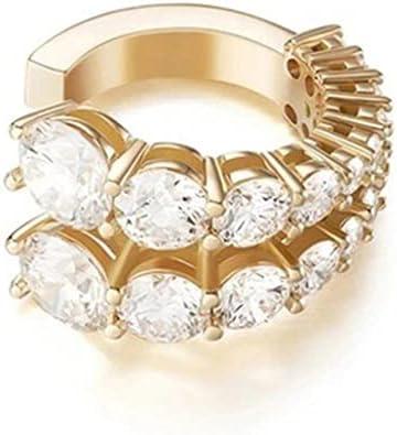 mingsheng Earrings Set Fashion Golden No Pierced Gold C-Shaped Ear Cuff Kpop Rapper Hiphop Outdoor Photo Fashion Jewelry Rhinestone Earrings Clip Jewelry(3 Style Optional)