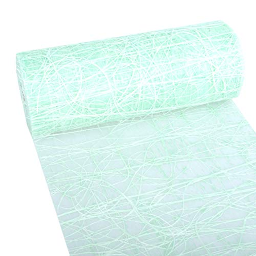 Dekoweb® tafelloper - tafelband - mintgroen - 30 cm breed - 15 m lang + 100 gespiegelde deco harten gratis - 54-300-15-046